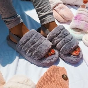 Shoes - 🌈Above the Clouds Collection// Grey fur slides